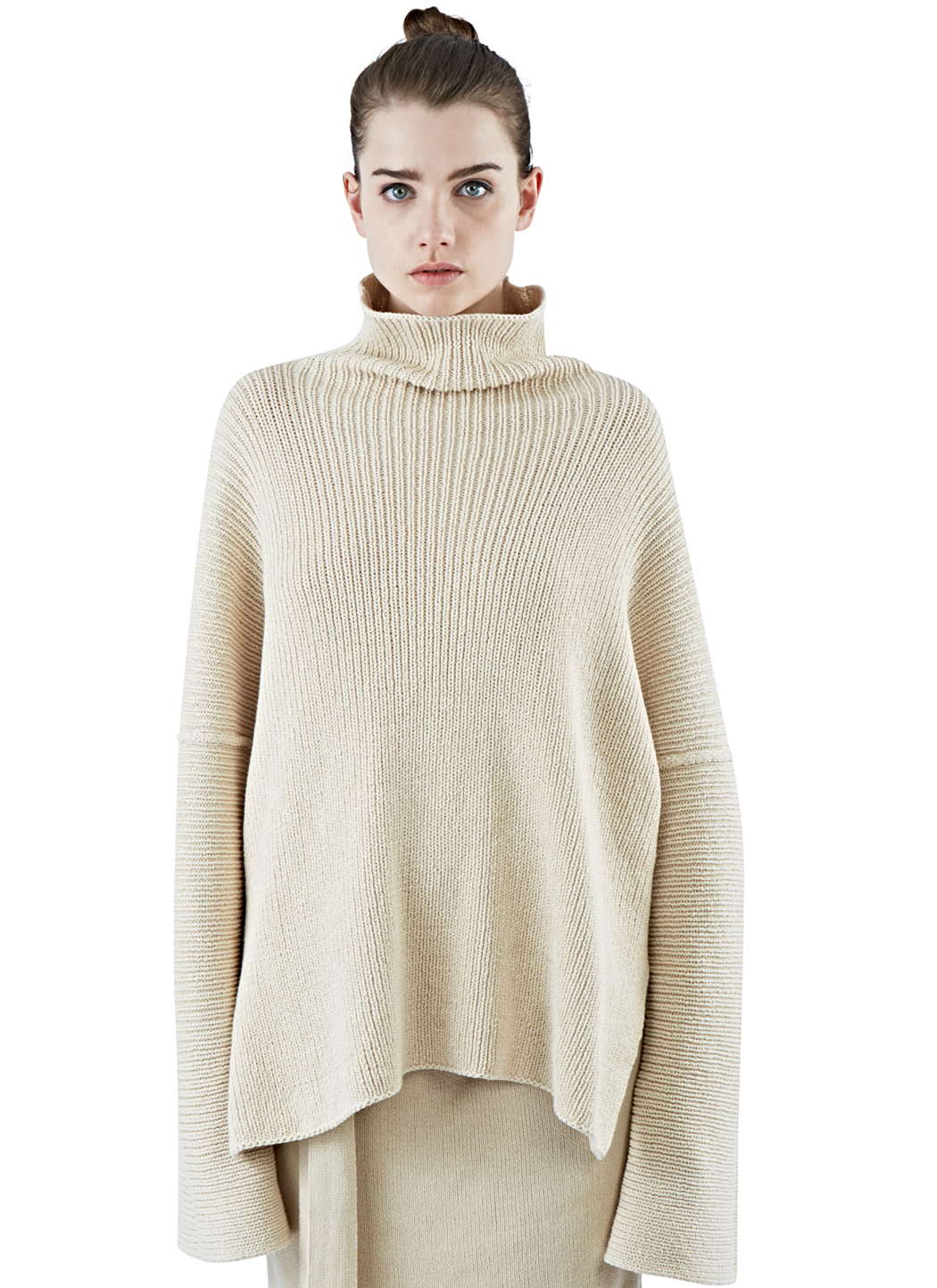 Lauren manoogian womens ribbed knit roll neck sweater in beige in gallery bankloansurffo Images