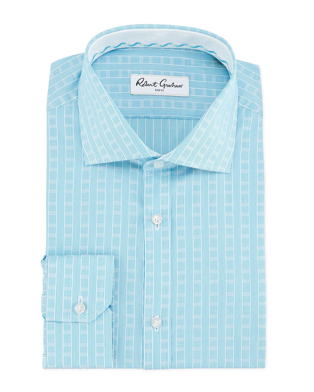 Lyst robert graham regular fit lex striped dress shirt for Regular fit dress shirt
