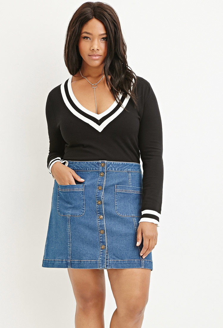 800d8f7331 Forever 21 Plus Size Button-down Denim Skirt in Blue - Lyst