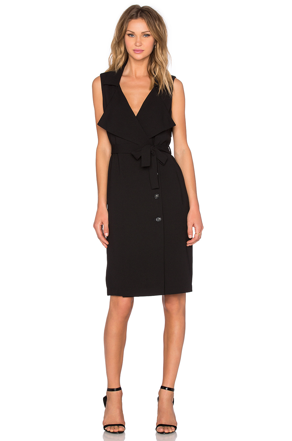 1 State Trench Midi Dress In Black Lyst