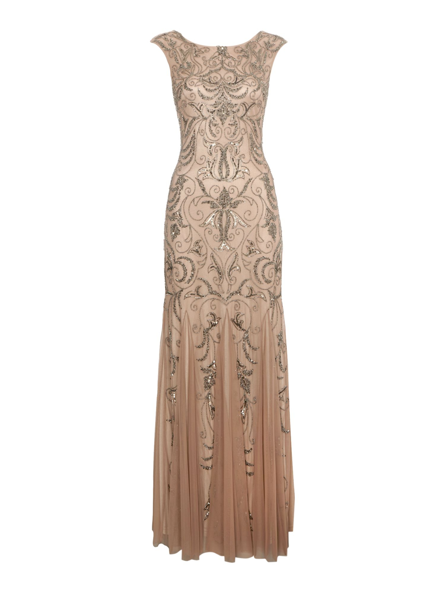 Adrianna Papell Cap Sleeve Beaded Dress in Gold (Buff) | Lyst