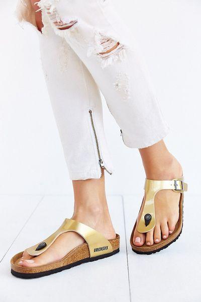 birkenstock gizeh thong sandal in gold lyst. Black Bedroom Furniture Sets. Home Design Ideas