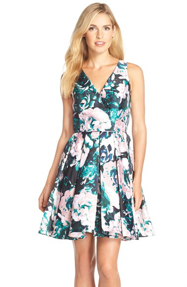 Lyst Adrianna Papell Floral Print Mikado Fit Amp Flare