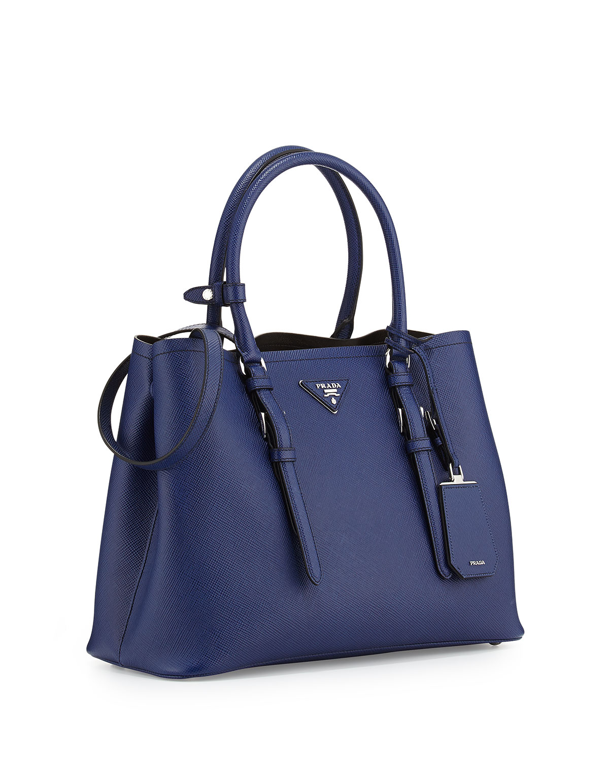 1755a42593 uk prada pale blue double tote small bag 138b5 4b1ea  uk lyst prada saffiano  cuir covered strap double bag in blue a245a 72ab3