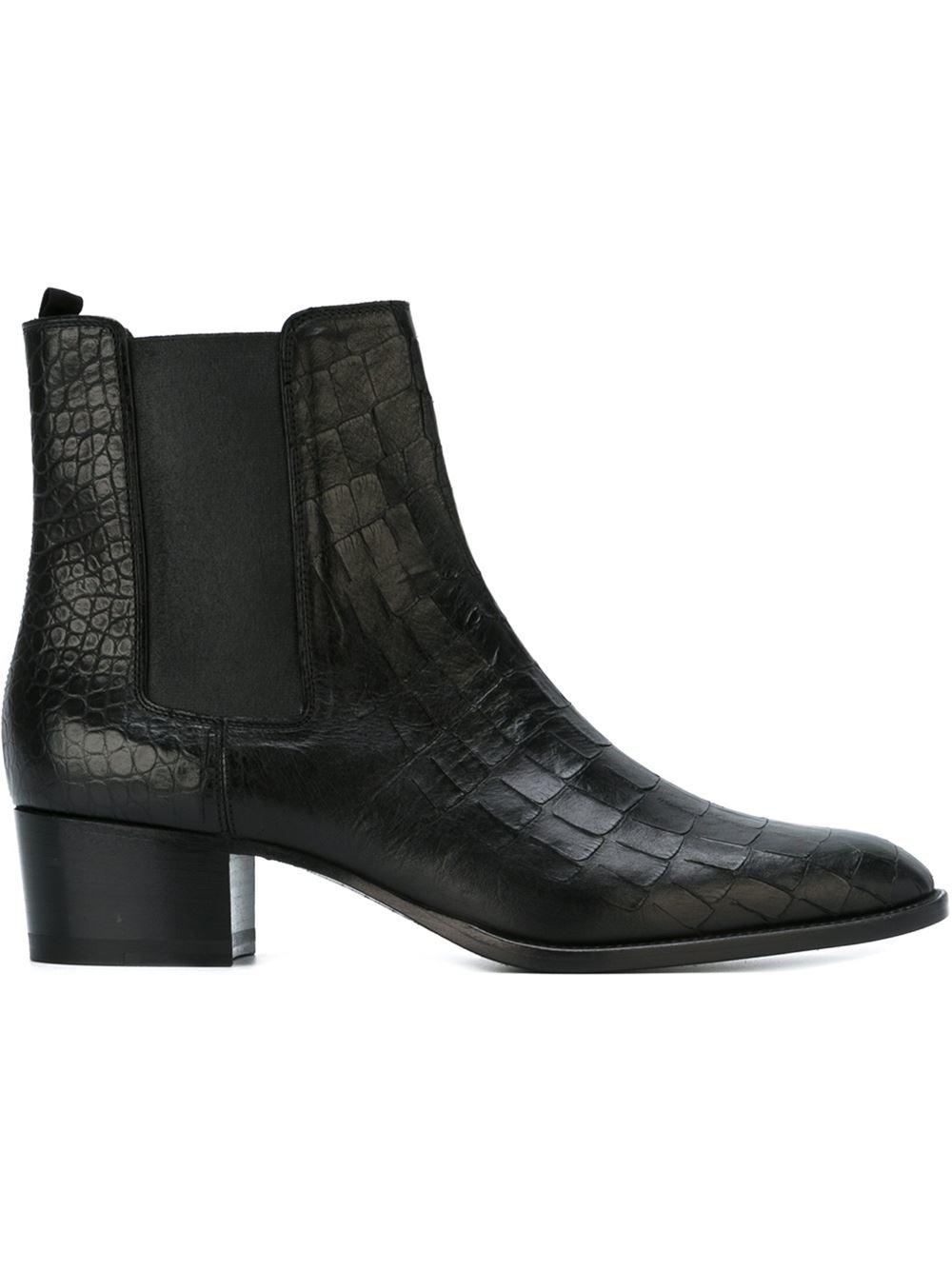 Saint Laurent Wyatt Chelsea Boots In Black Lyst