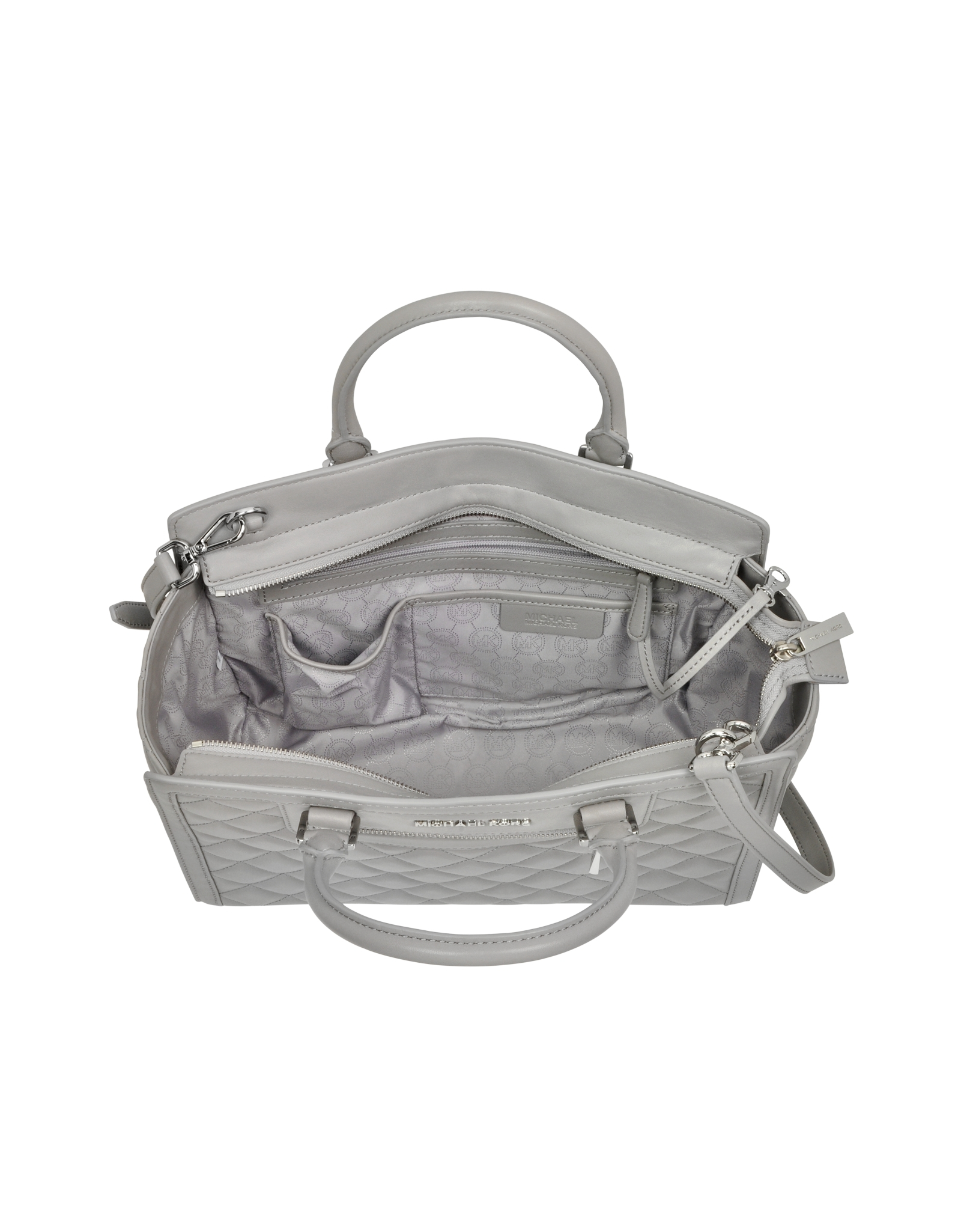 Lyst - Michael Kors Selma Large Pearl Grey Quilted Leather