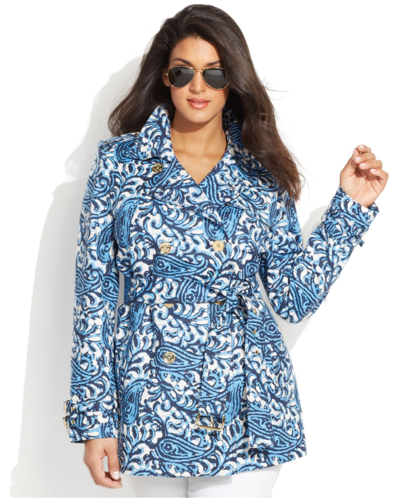 5a68ffd06a8ea Lyst - Michael Kors Michael Plus Size Paisley-Print Trench Coat in Blue
