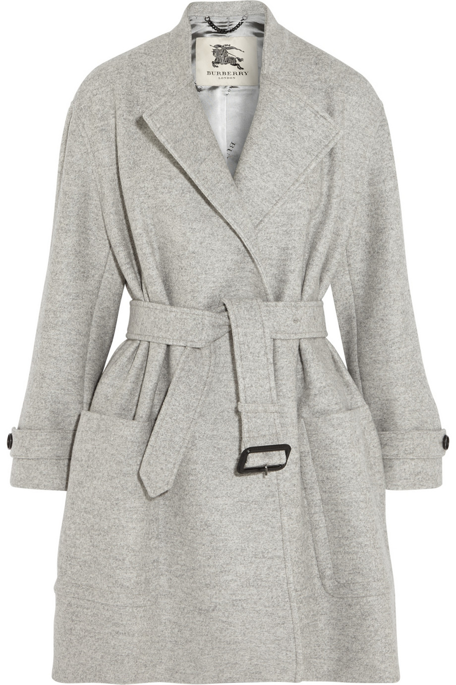 Burberry Belted Wool Coat In Gray Lyst
