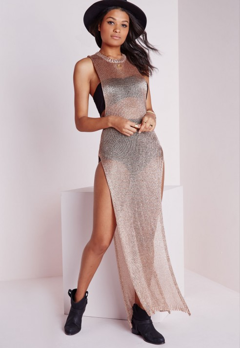Missguided Metallic Knitted Dress Rose Gold In Pink Rose