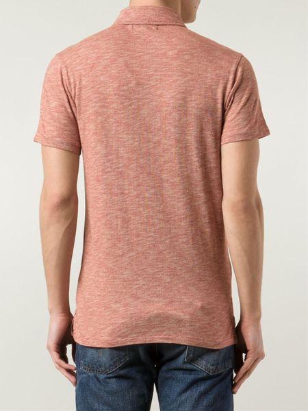 Rrl chest pocket polo shirt in red for men lyst for Men s polo shirts with chest pocket