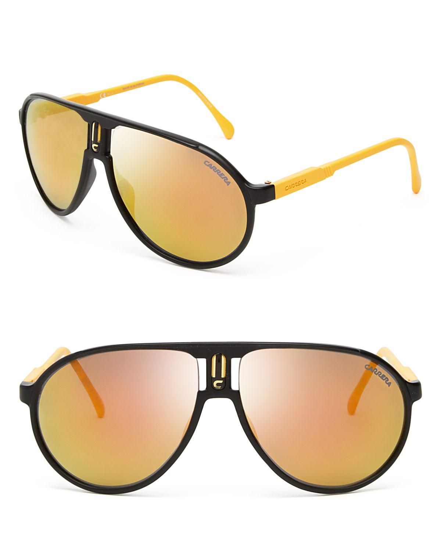 8980772e2 Lyst - Carrera Champion Mirrored Navigator Sunglasses in Black