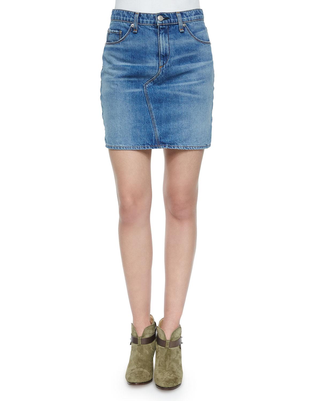 rag bone jean clean bigbee denim mini skirt in green