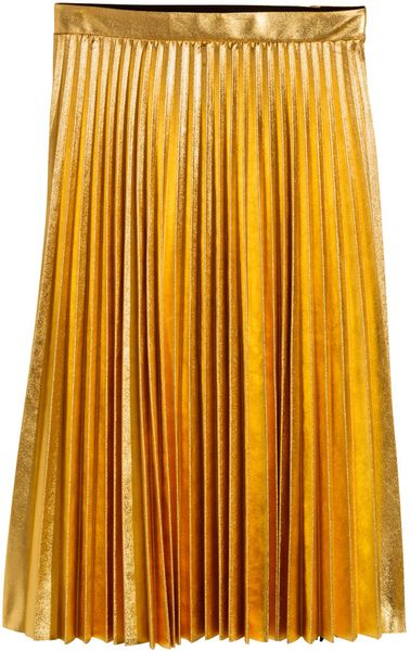 h m pleated skirt in gold lyst