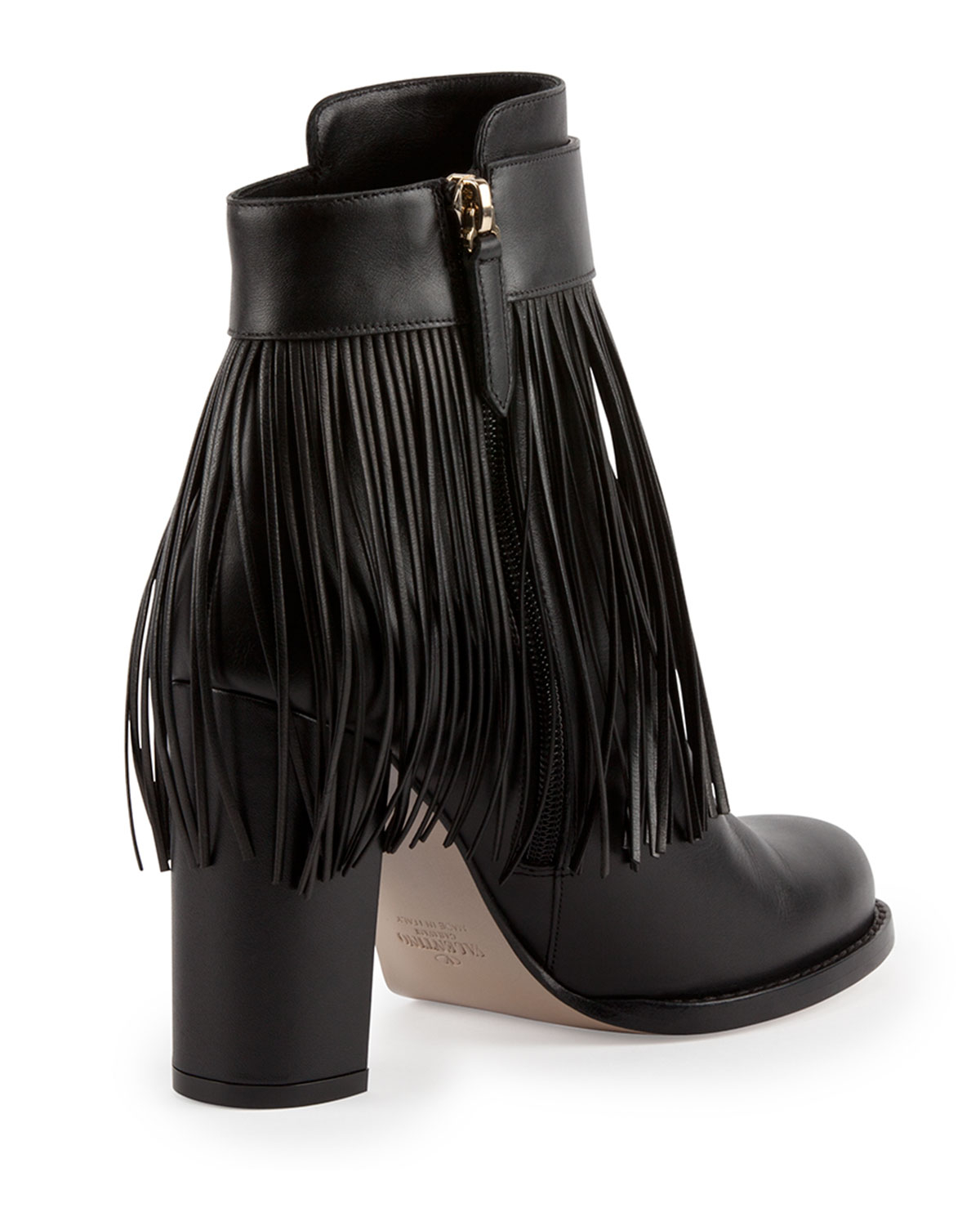 Valentino Fringe Leather Ankle Boot in Black | Lyst