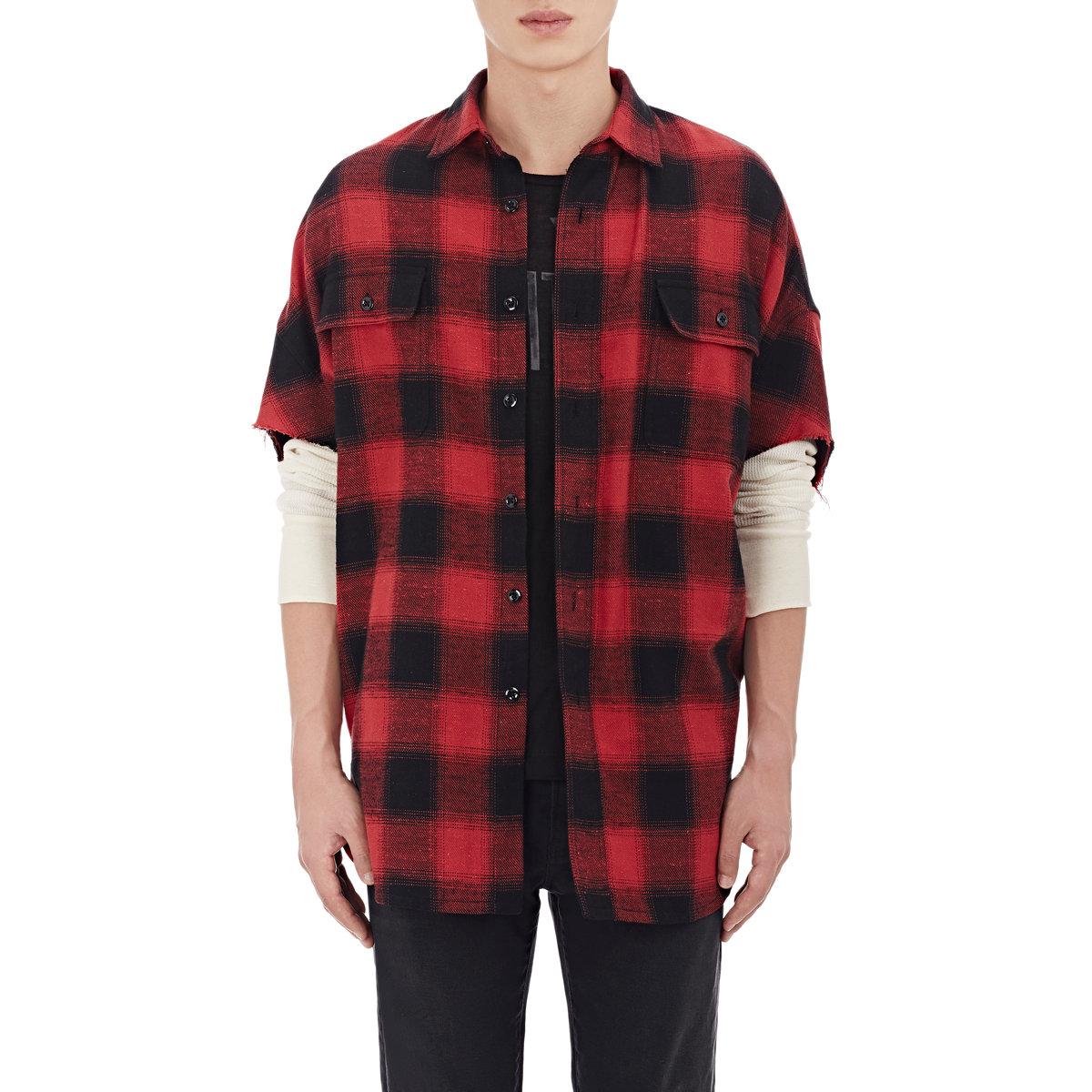 Lyst r13 plaid oversized shirt in black for men for Oversized red plaid shirt