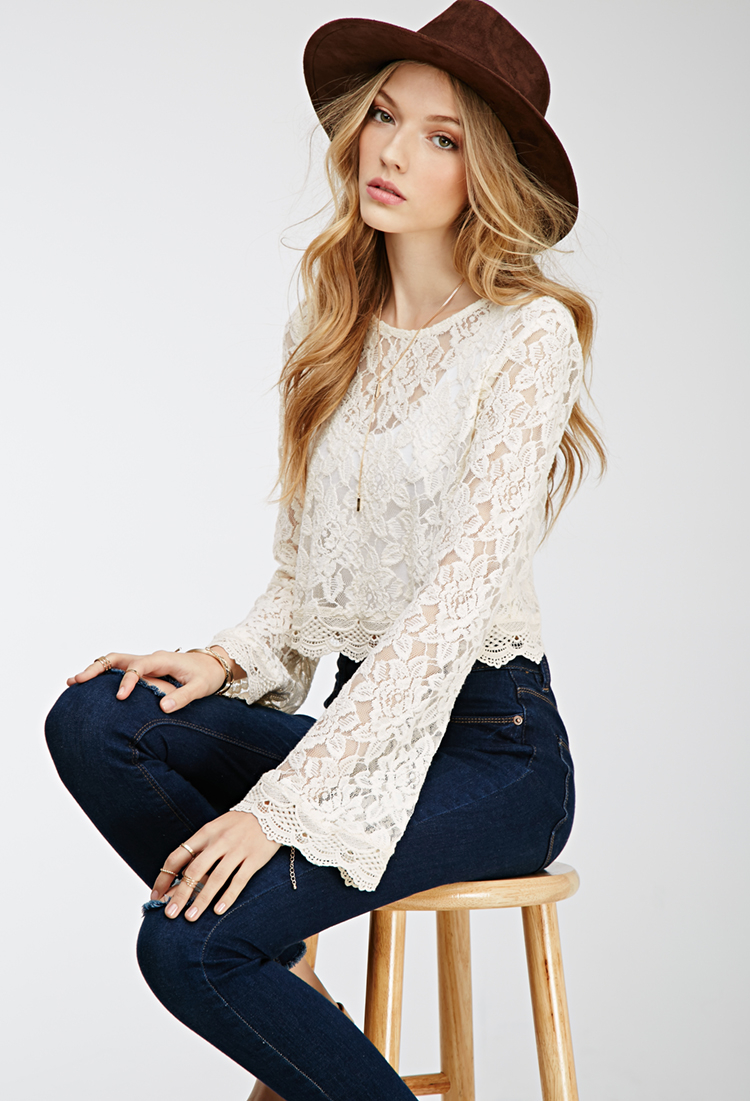 Lyst Forever 21 Bell Sleeved Lace Crop Top In Natural
