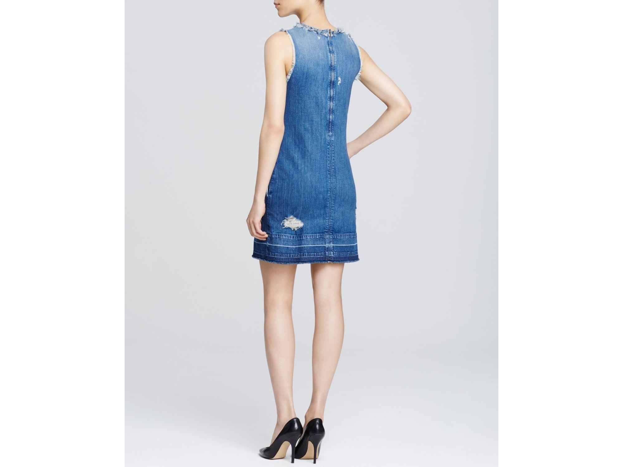 6dd1501d02c Lyst - J Brand Denim Destructed Dress In Hollow in Blue