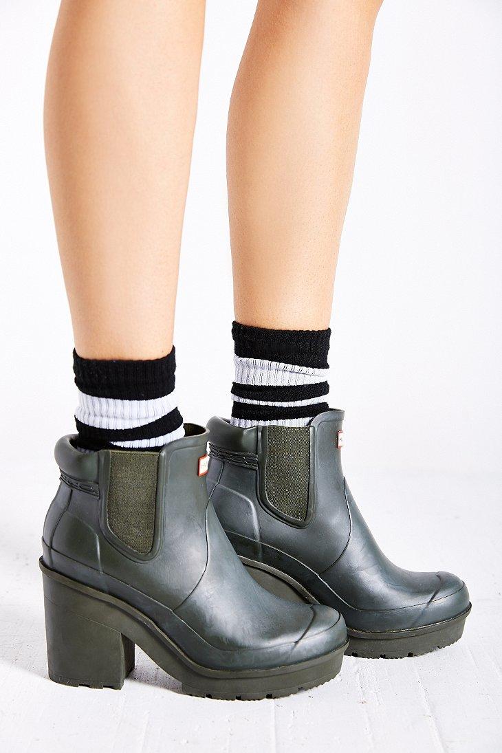 Hunter Original Block Heel Chelsea Boot in Green