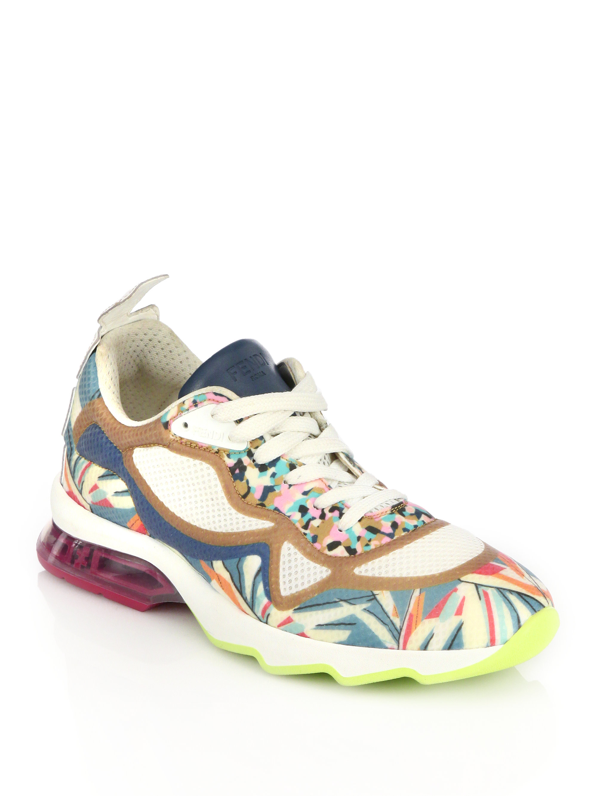 fendi ffast printed leather sneakers in white lyst