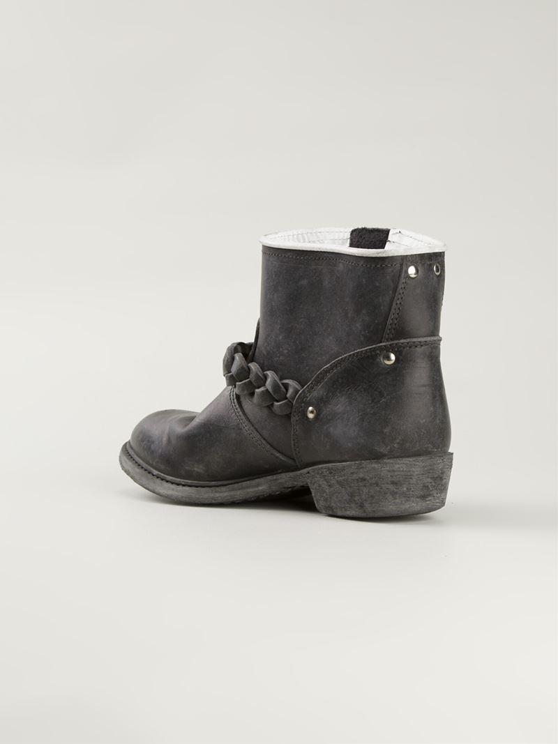 Golden Goose Deluxe Brand Braided Detail Biker Boots in Black