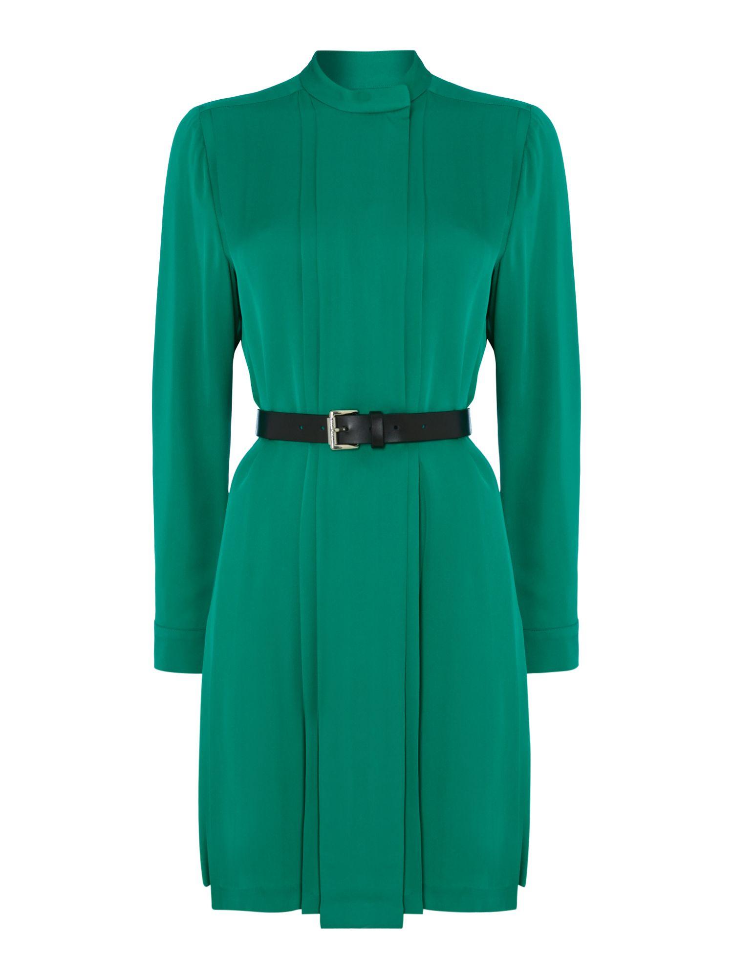Michael kors long sleeve silk shirt belted dress in green for Long sleeve silk shirt dress
