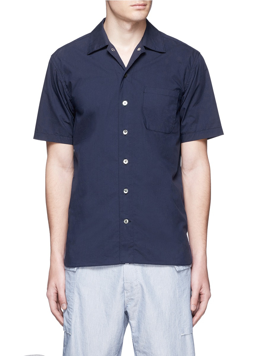 Lyst nanamica spread collar short sleeve wind shirt in for Men s spread collar shirts