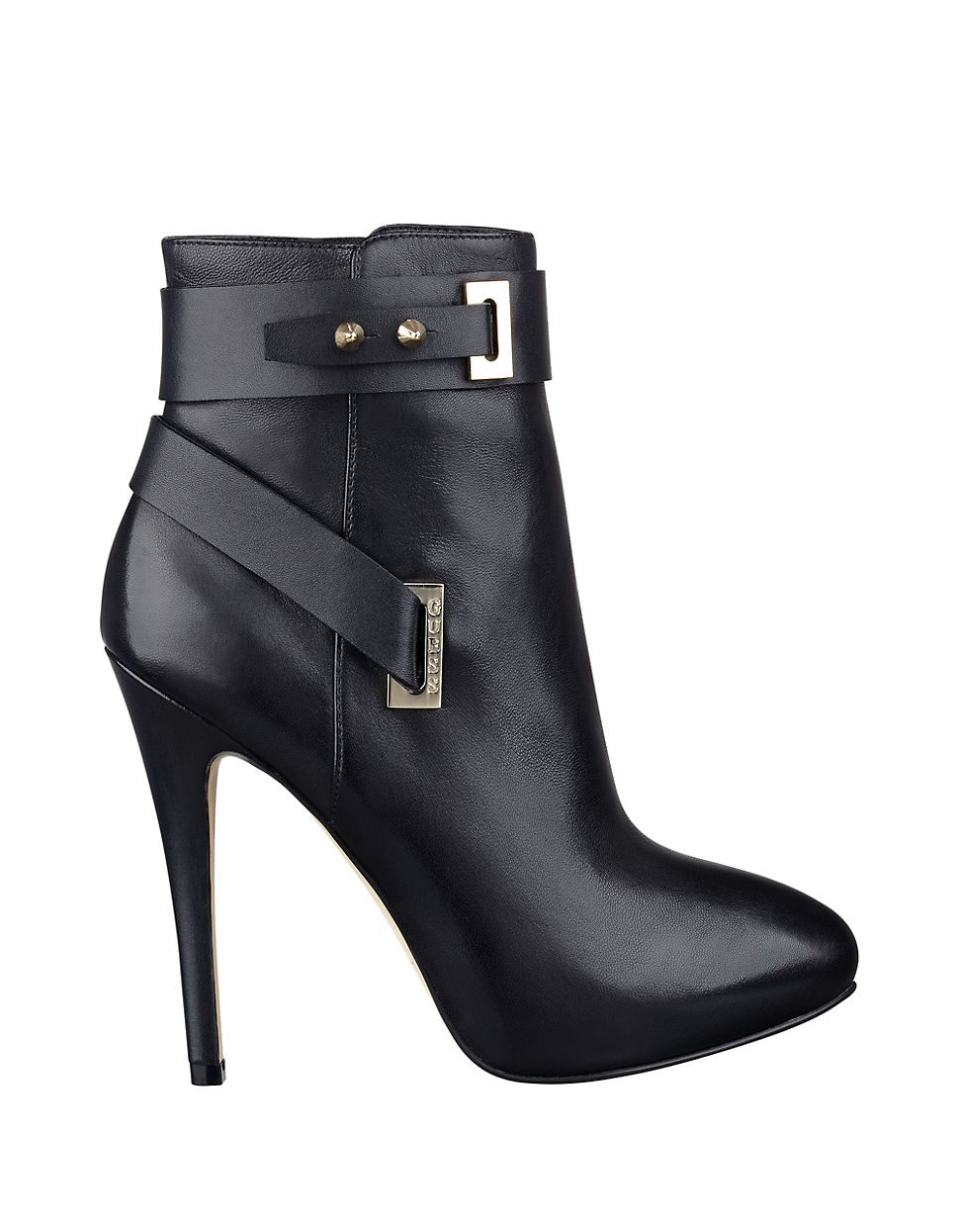 guess shanda leather platform ankle boots in black lyst
