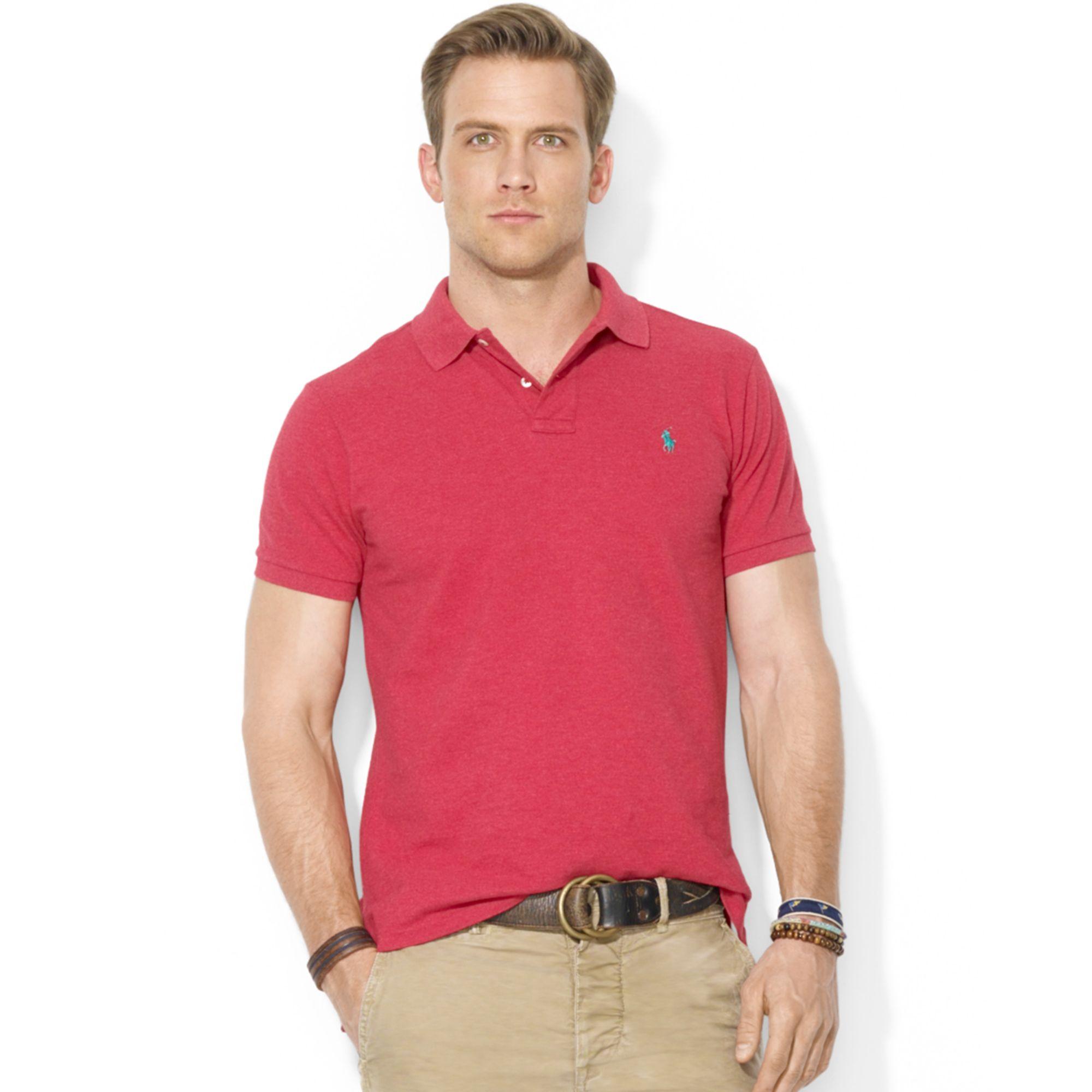 Polo ralph lauren men custom fit mesh pony logo shirt for Ralph lauren logo shirt