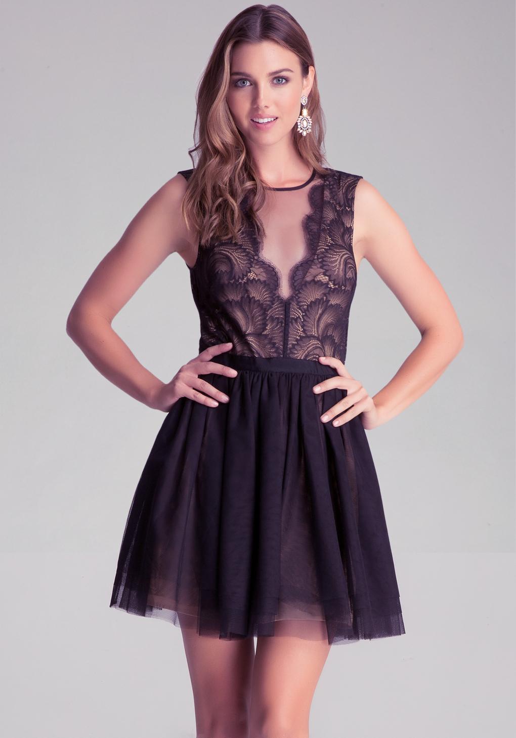 Bebe Flare Puff Skirt Dress In Black Lyst