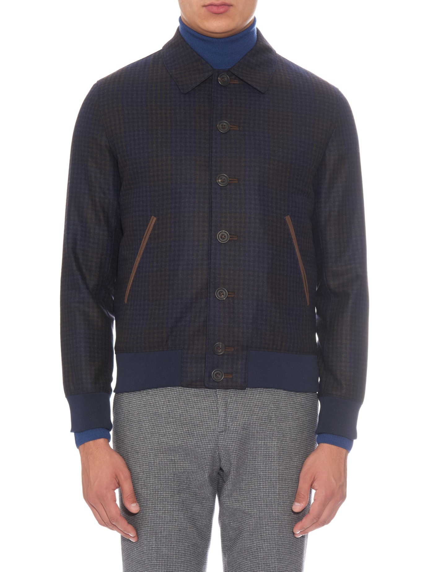 Lyst Richard James Checked Wool Bomber Jacket In Blue