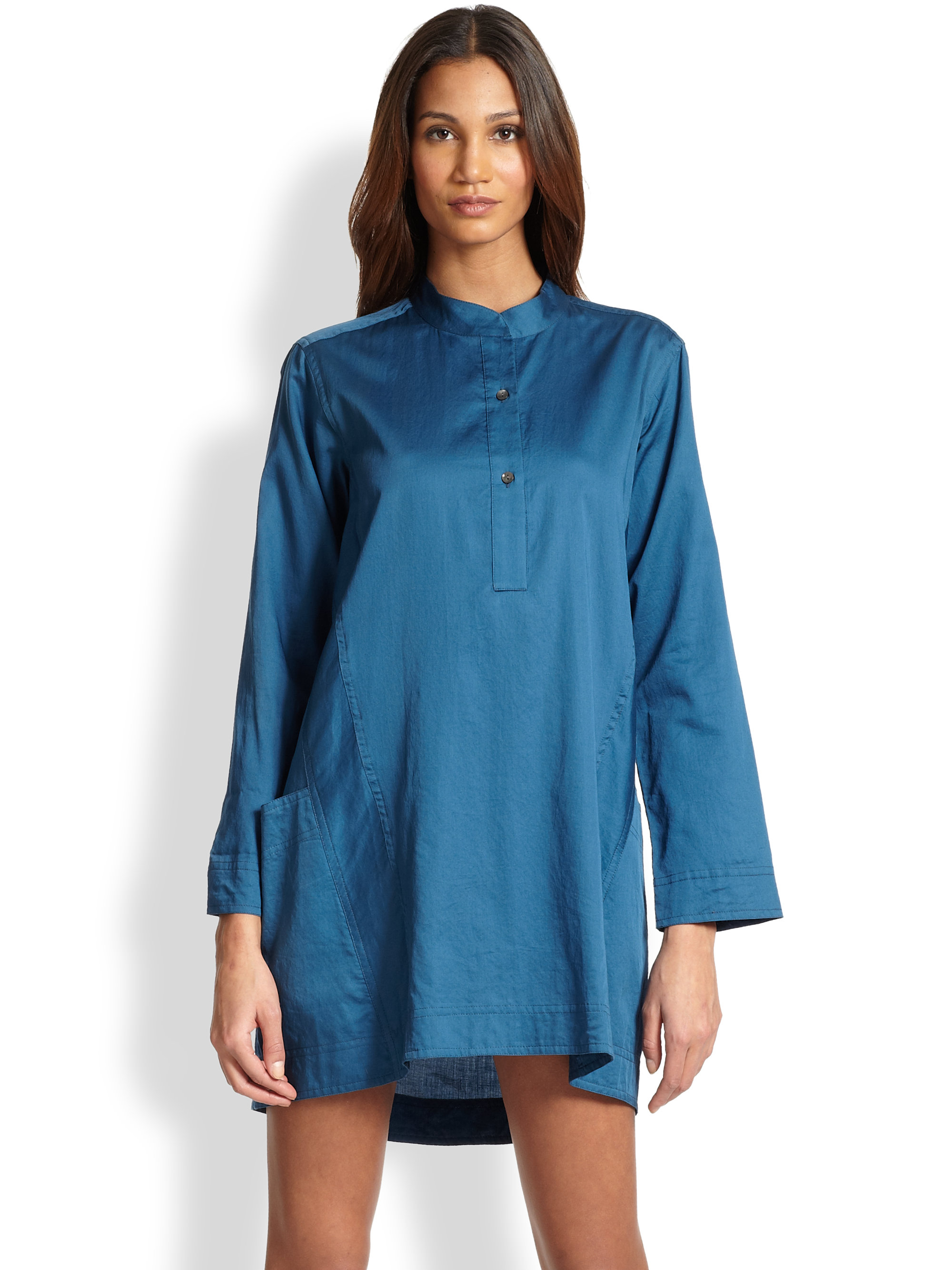 Donna karan new york cotton batiste sleepshirt in blue lyst for Donna karen new york