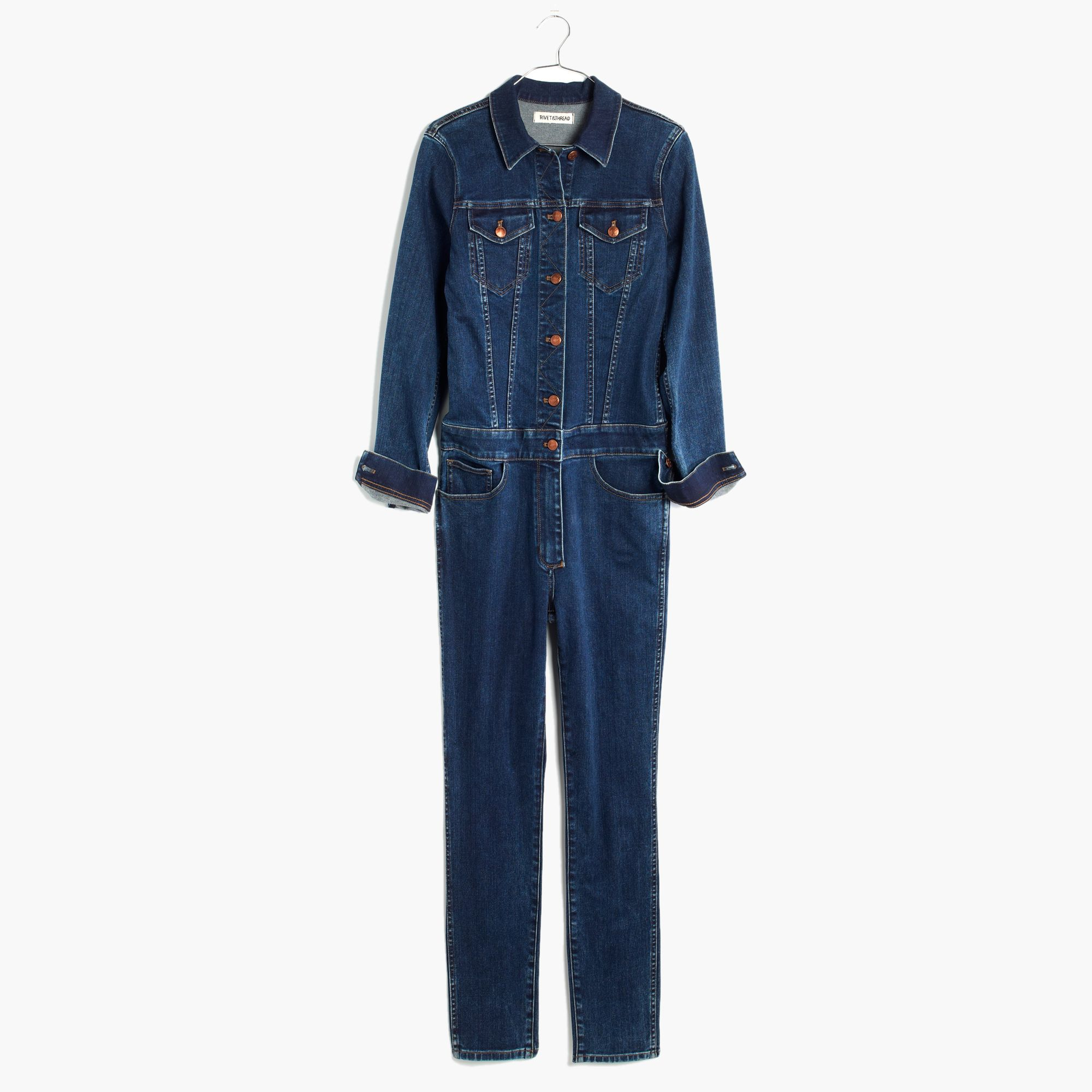 5288d331287 Lyst - Madewell Rivet   Thread Denim Coverall Jumpsuit in Blue