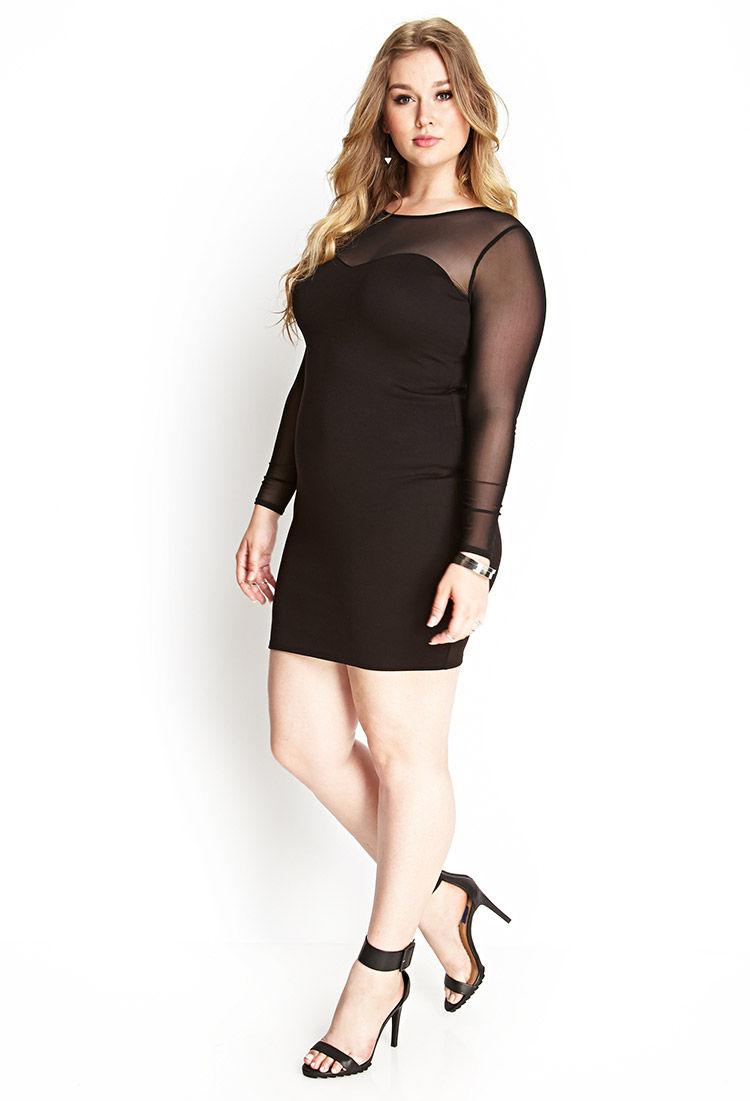 Forever 21 Mesh Trimmed Bodycon Dress In Black Lyst