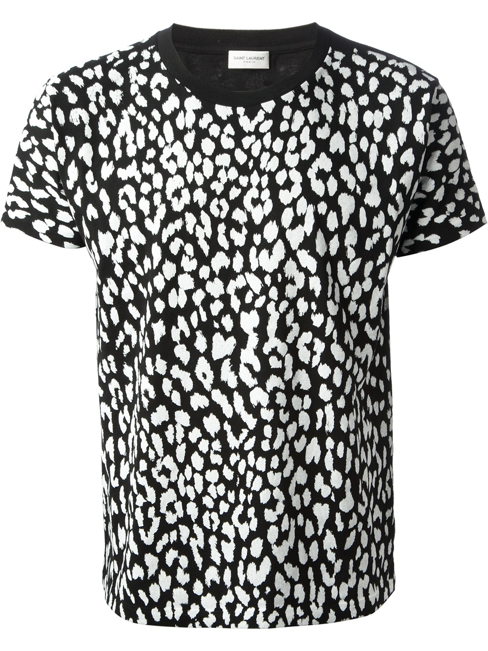 Saint Laurent Leopard Print Tshirt In Black For Men Lyst