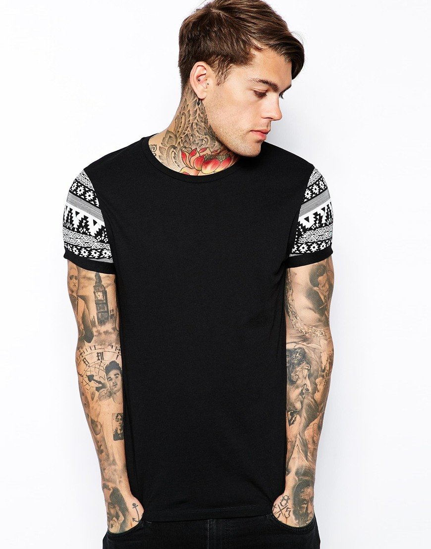 Lyst Asos T Shirt With Contrast Aztec Print Roll Sleeve