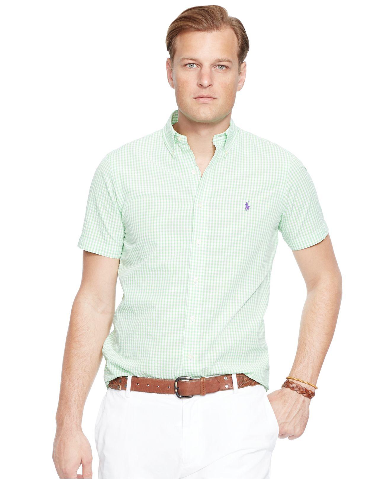 lyst polo ralph lauren big tall check seersucker shirt in green for men. Black Bedroom Furniture Sets. Home Design Ideas