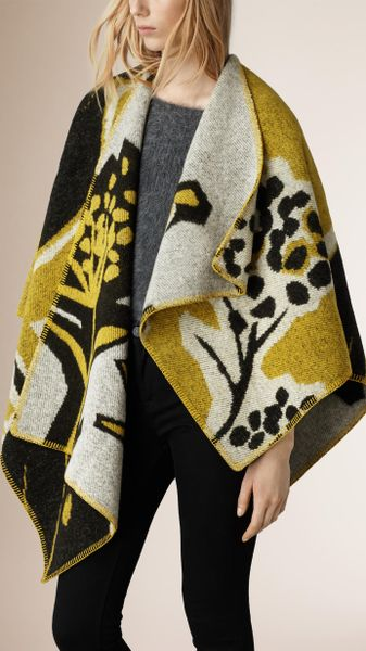 Book Cover Pattern Wool Cashmere Poncho ~ Burberry brit insects of britain wool cashmere poncho in
