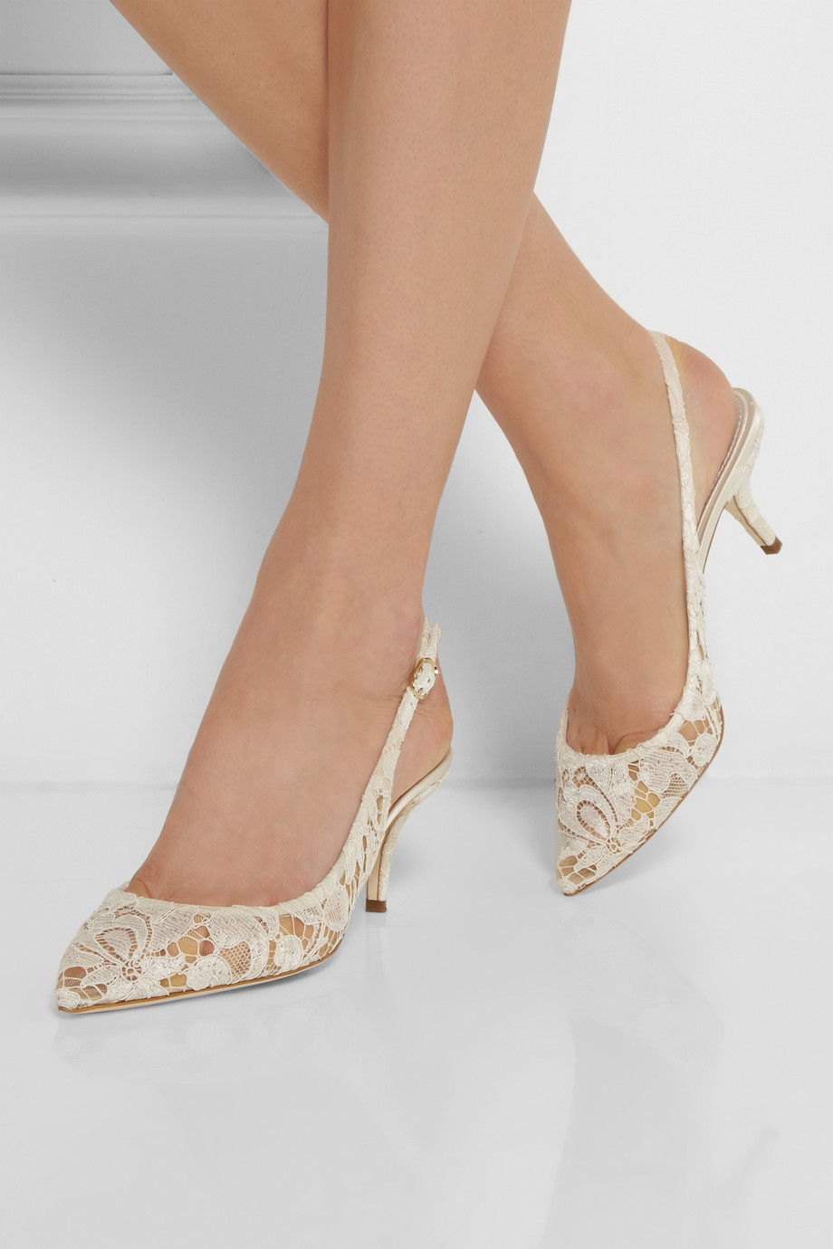 Dolce & gabbana Lace Slingback Pumps in White