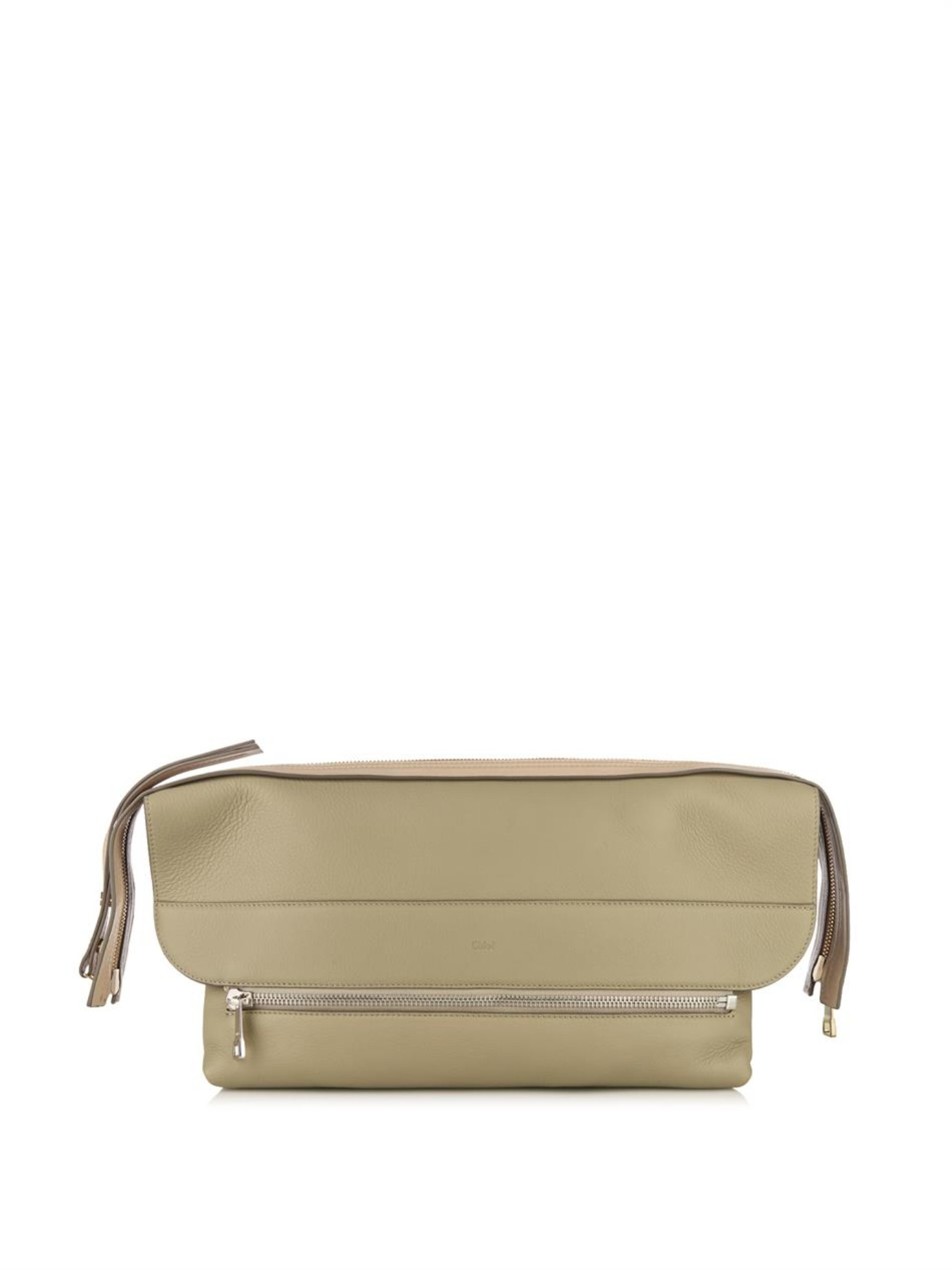 Chlo¨¦ Dalston Bi-colour Leather Clutch in Green (LIGHT GREEN) | Lyst