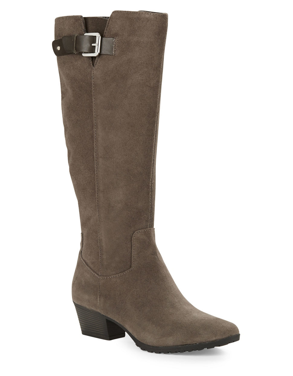 bandolino tadao suede knee high boots in brown lyst