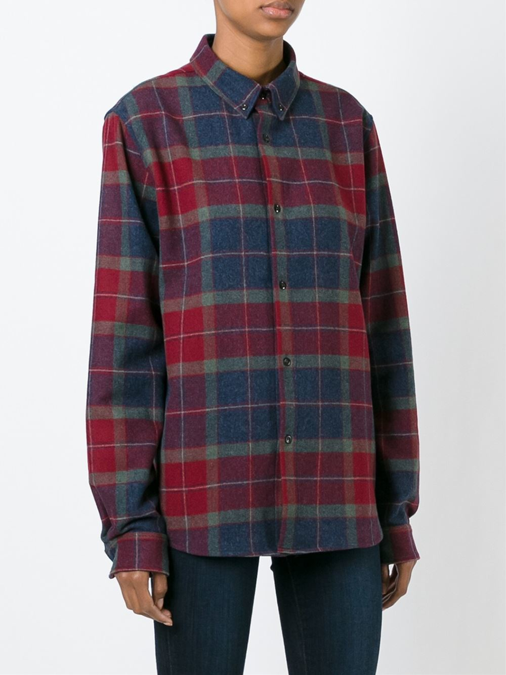 A p c checked shirt in red lyst for Apc white t shirt