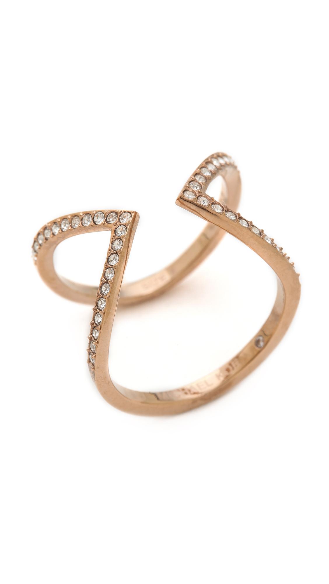 Michael Kors Open Delicate Arrow Ring Rose Goldclear in Metallic
