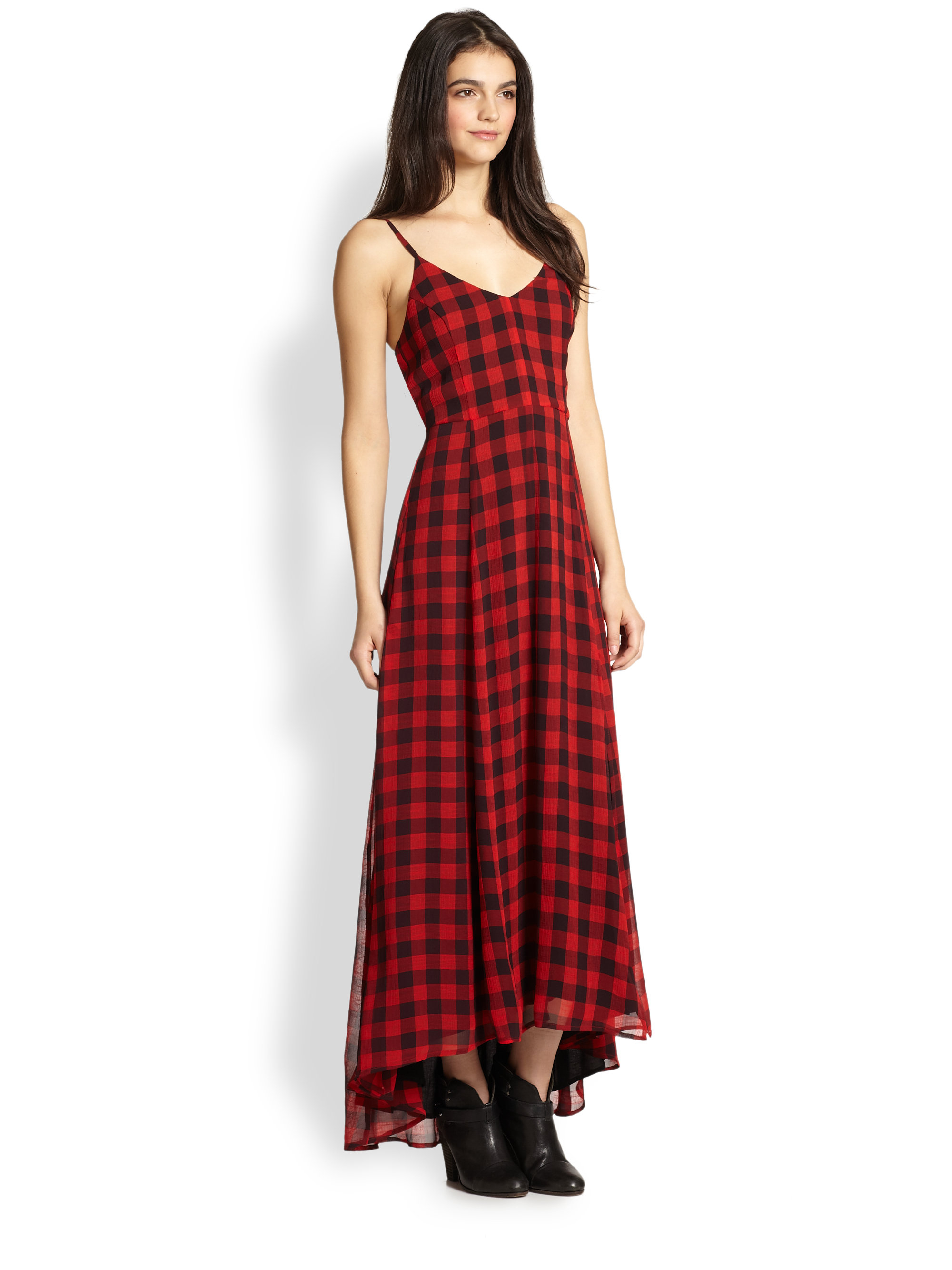 Line & Dot Plaid Chiffon Maxi Dress in Red (COURTNEY PLAID ...
