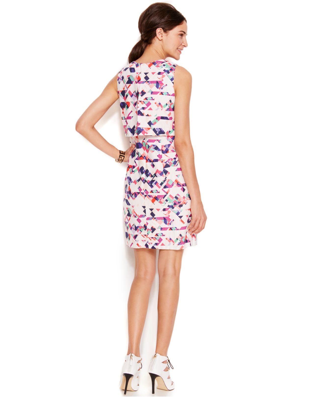 Vince Camuto Popover Embellished Shift Dress In Pink
