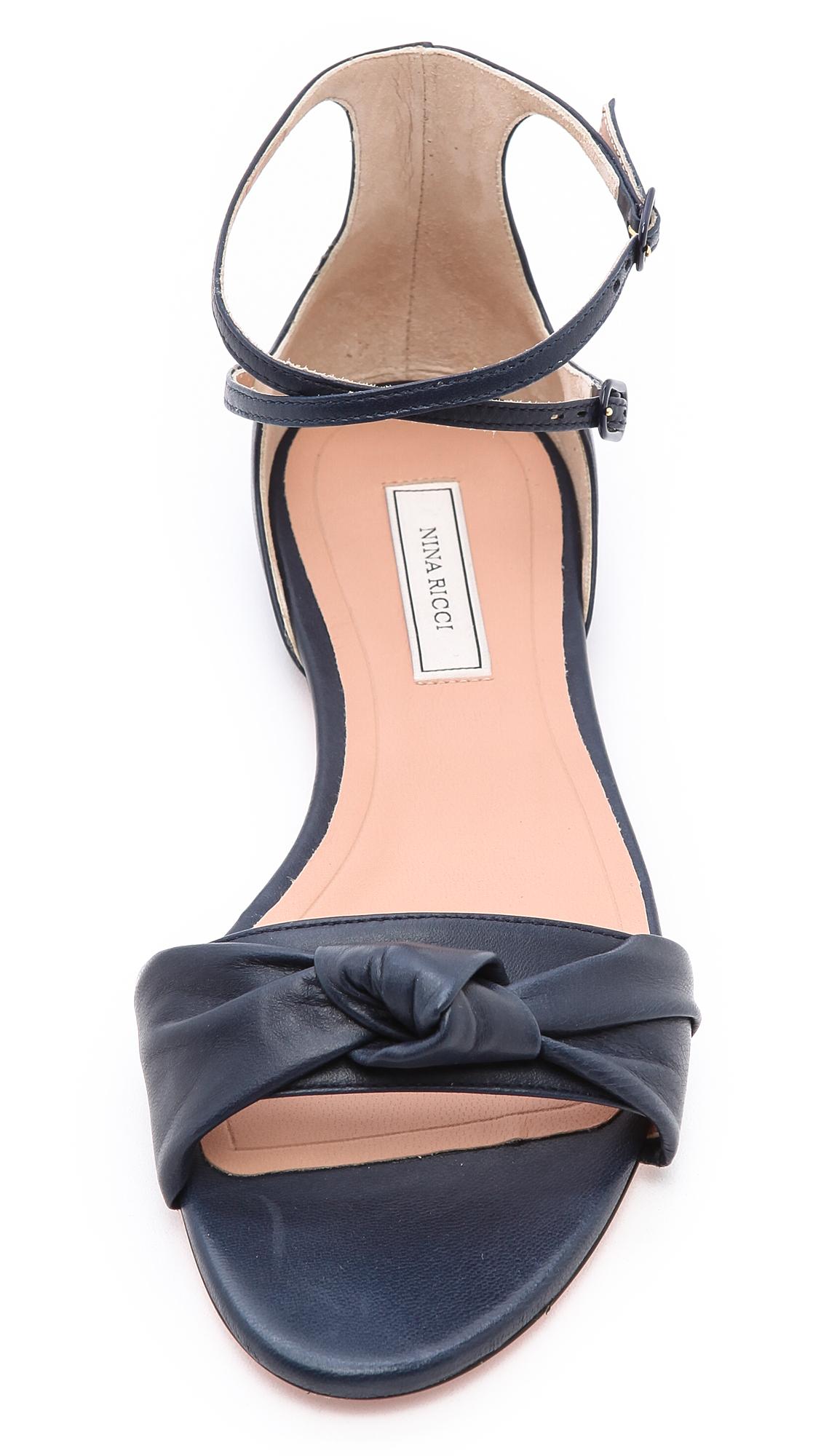 Lyst Nina Ricci Flat Knot Sandals In Blue