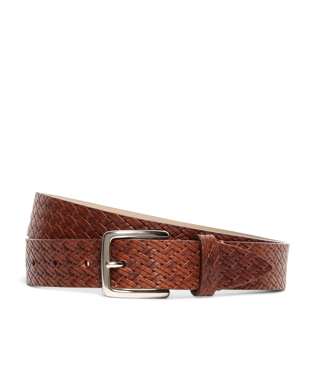 brothers embossed leather belt in brown for lyst