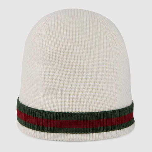 Lyst - Gucci Knit Wool Web Hat in White 1c27f5cafdf8