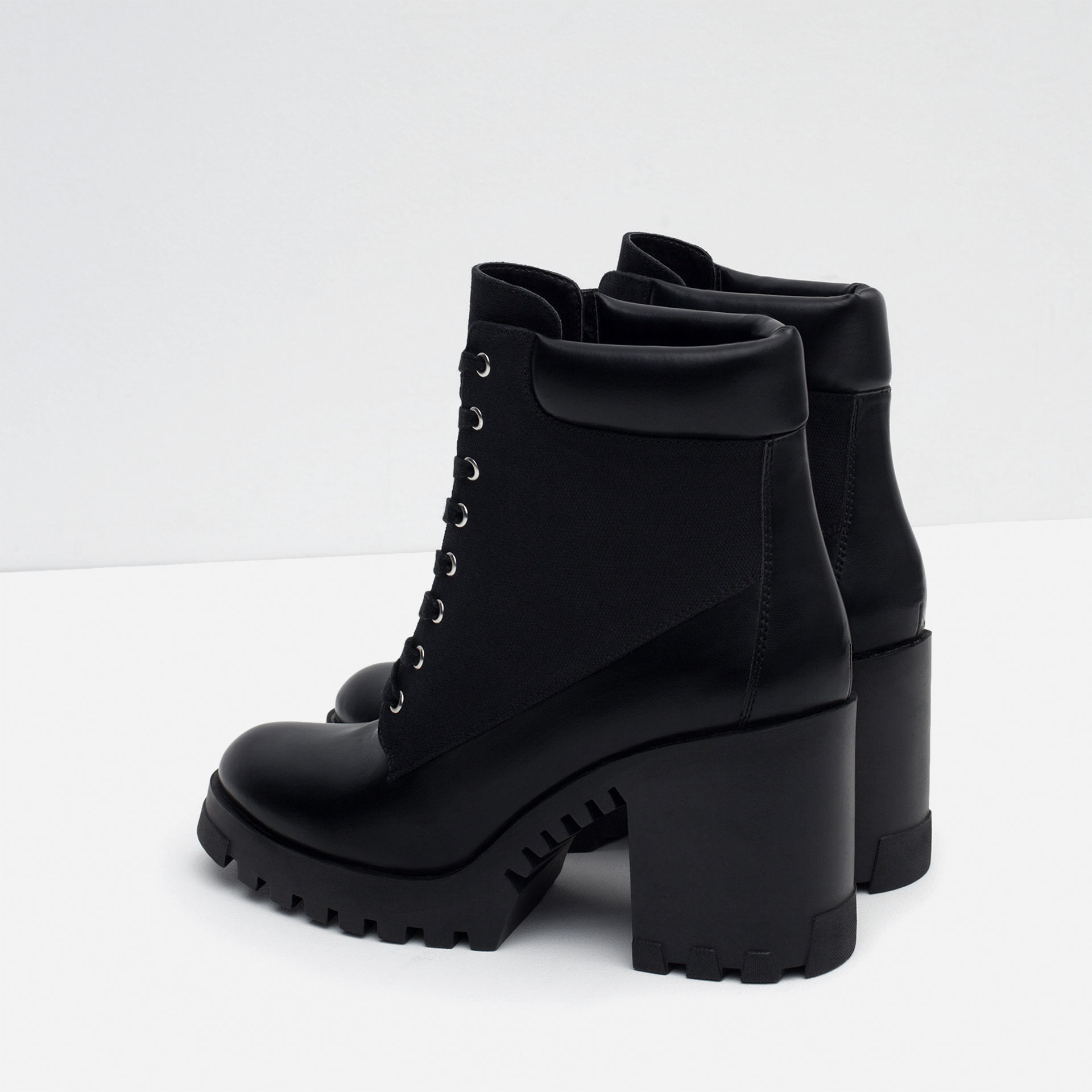 Zara Lace Up High Heel Ankle Boots In Black Lyst