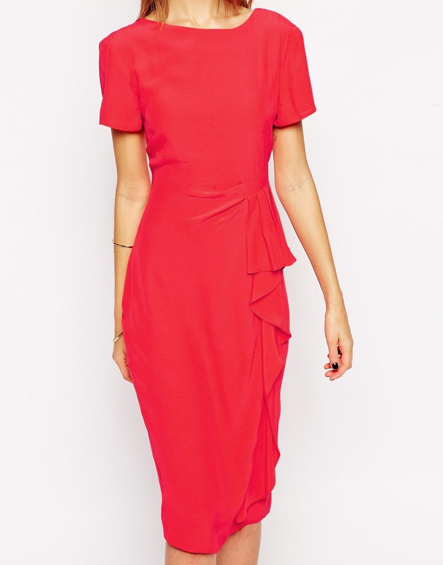 Asos pencil dress with waterfall detail in red lyst for Waterfall design dress