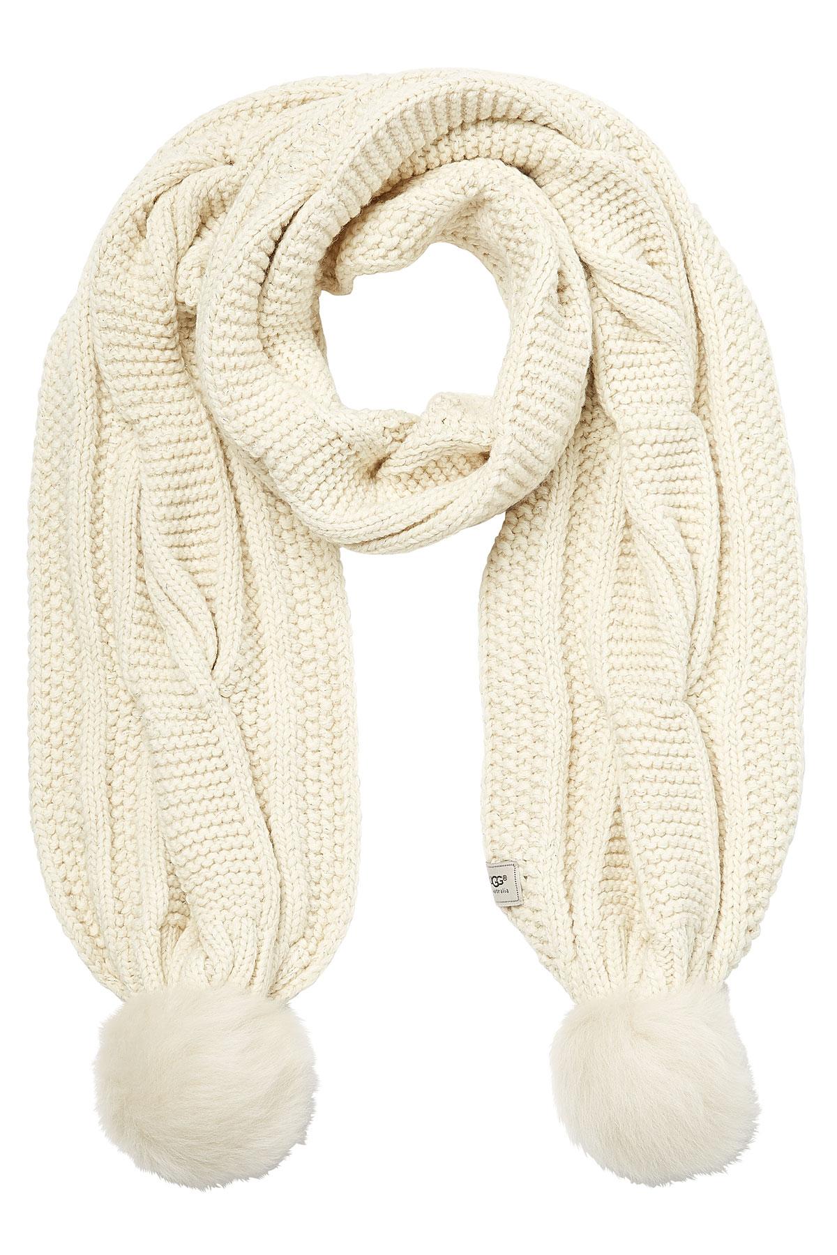 33fc36897 UGG Wool Blend Scarf With Sheepskin Pom-poms - Lyst